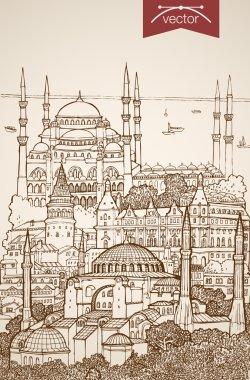 Hand drawn Istanbul, Turkey travel