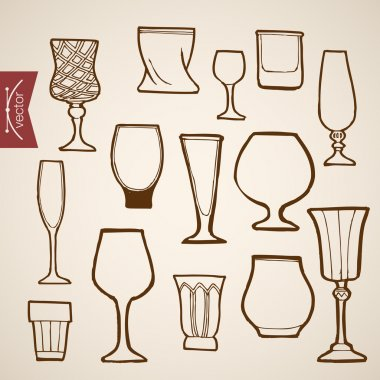 Pencil Sketch of restaurant stemware collection