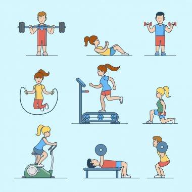 Sport workout concepts set