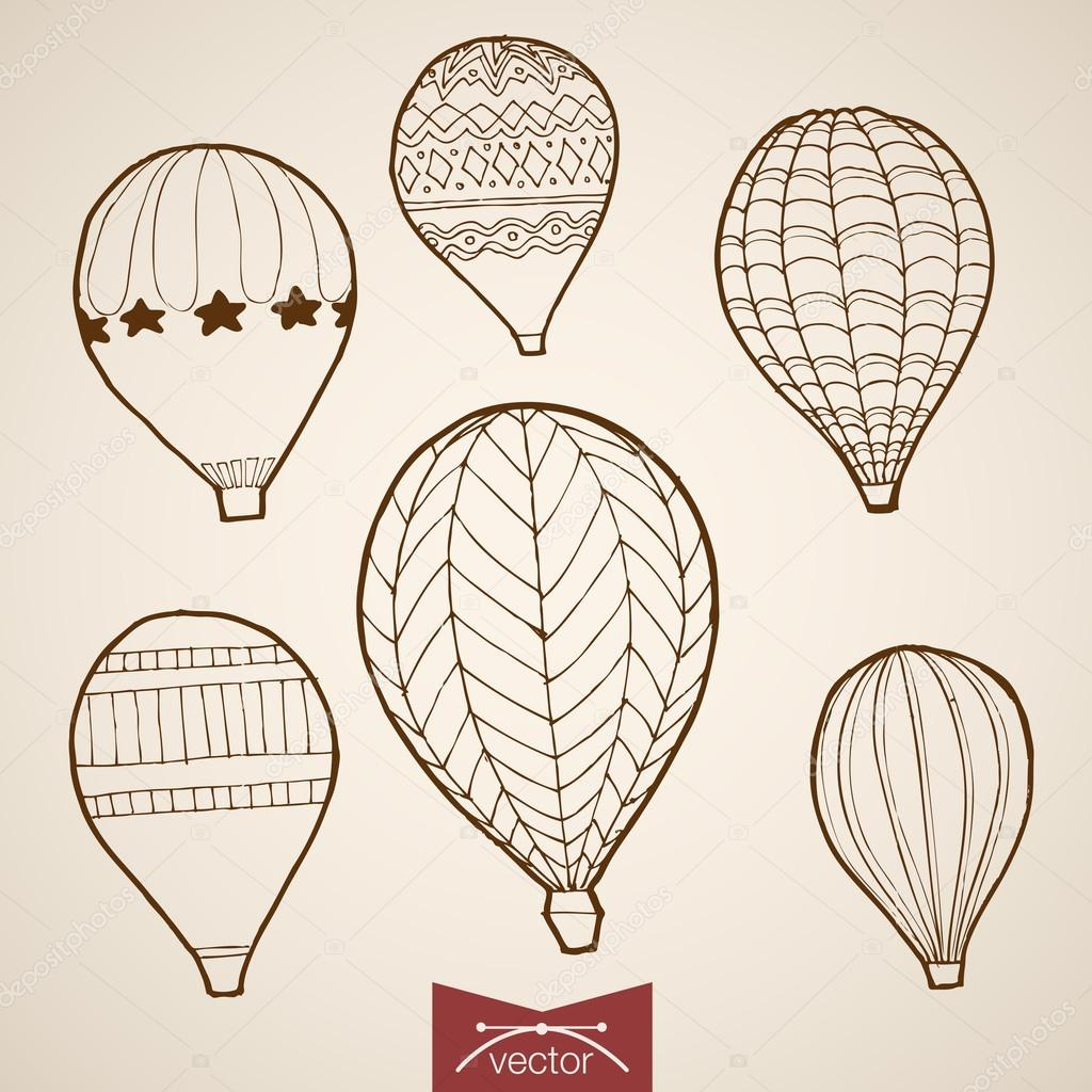 Balloon extreme tourism life style vacation icon set engraving style pen pencil crosshatch hatching paper painting retro vintage vector lineart