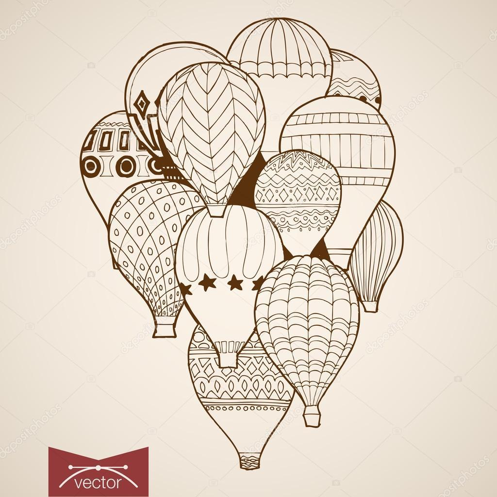 Pencil Sketch Of Flying Balloons Stockvektor Sentavio 117601152