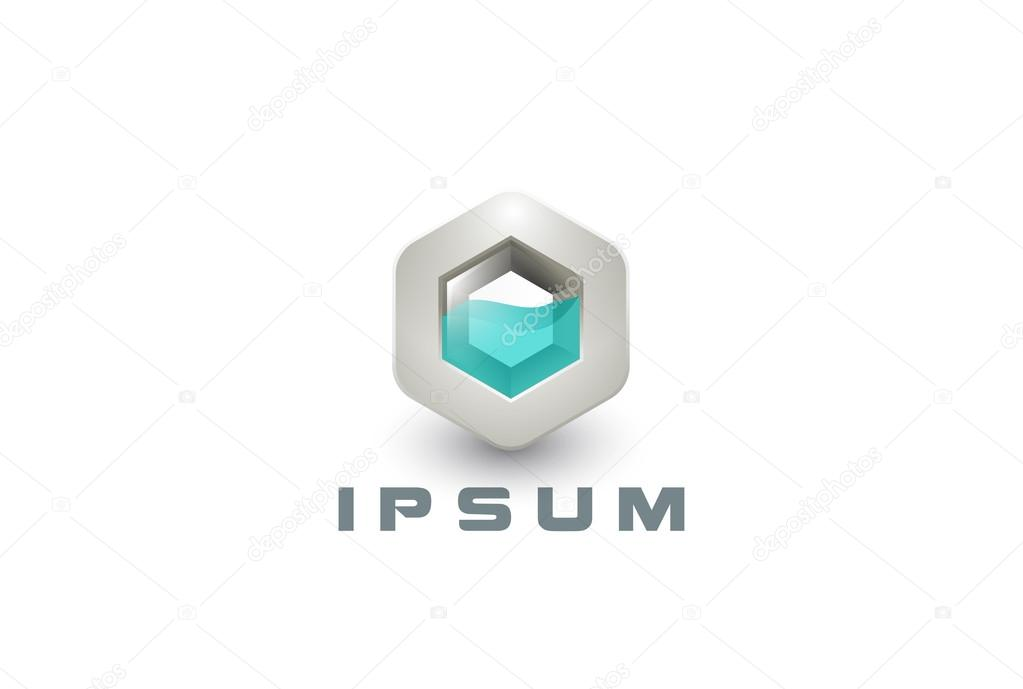 liquid logo 3d abstract hexagon shape stock vector sentavio