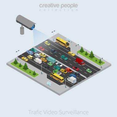 Security Camera watching city transport