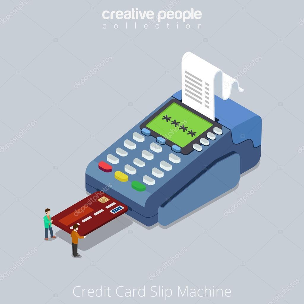 people push credit card into POS terminal — Stock Vector