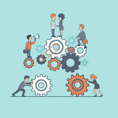 Businesspeople moving together gearwheels