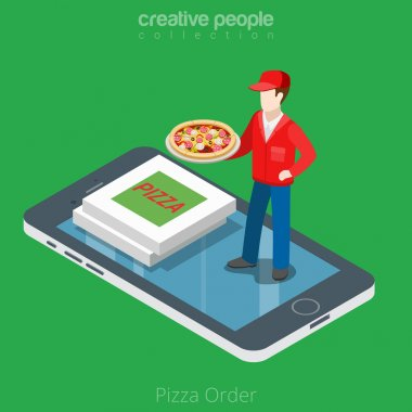 Pizza boy and boxes on smartphone
