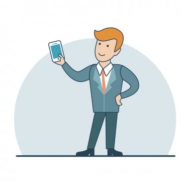 Businessman holding smartphone in hand