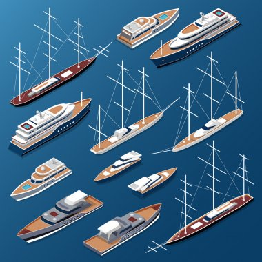 Isometric flat yachts and boats