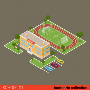 Flat isometric school building