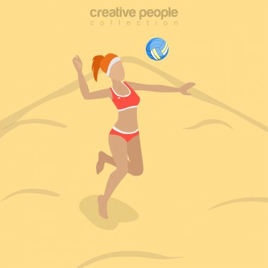 Flat isometric Beach Volleyball Player