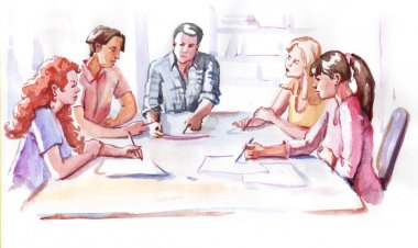 Watercolor paining business people