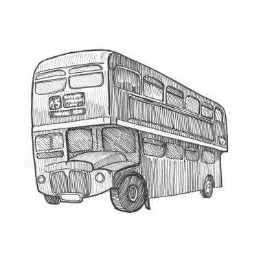 Bus pencil painting illustration