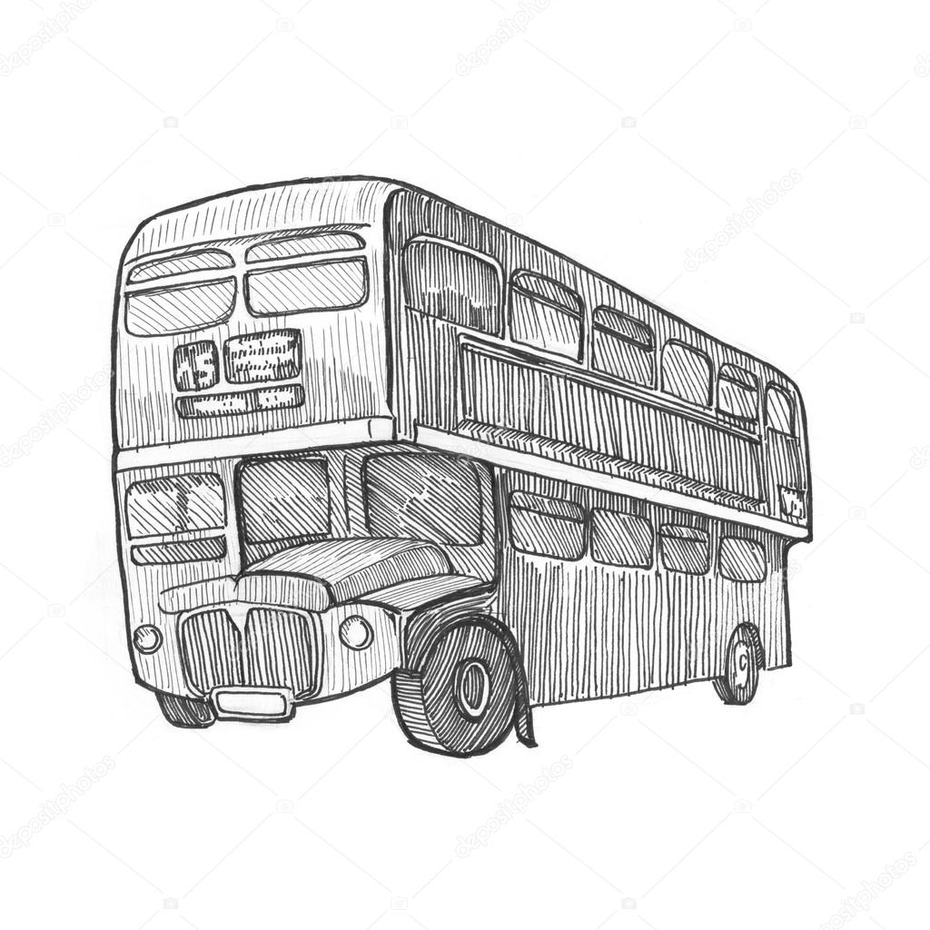 Bus pencil painting illustration stock photo sentavio 83131188