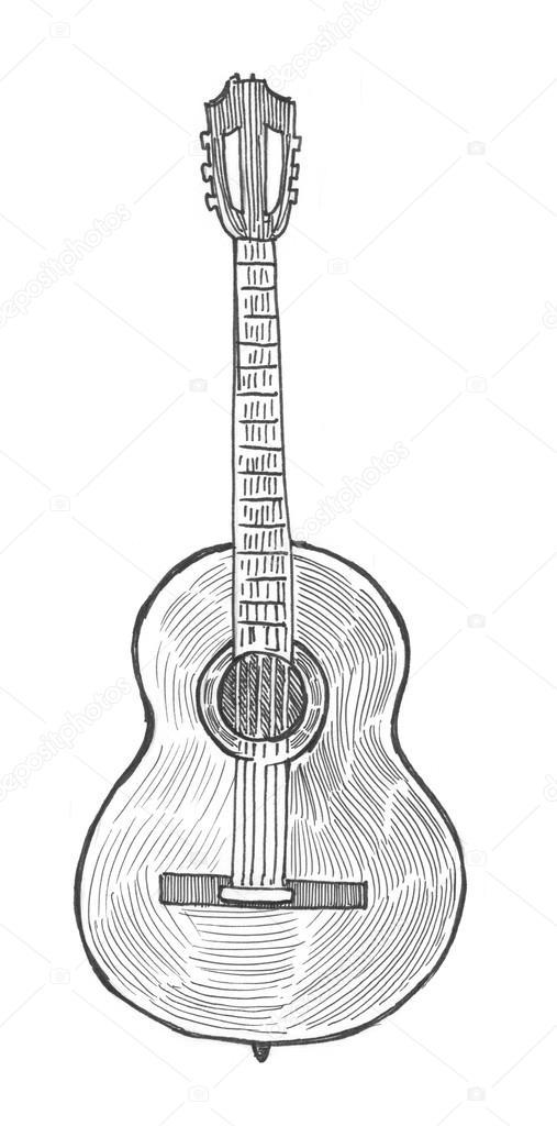 Kağıt Boyama Klasik Gitar Stok Foto Sentavio 83131250