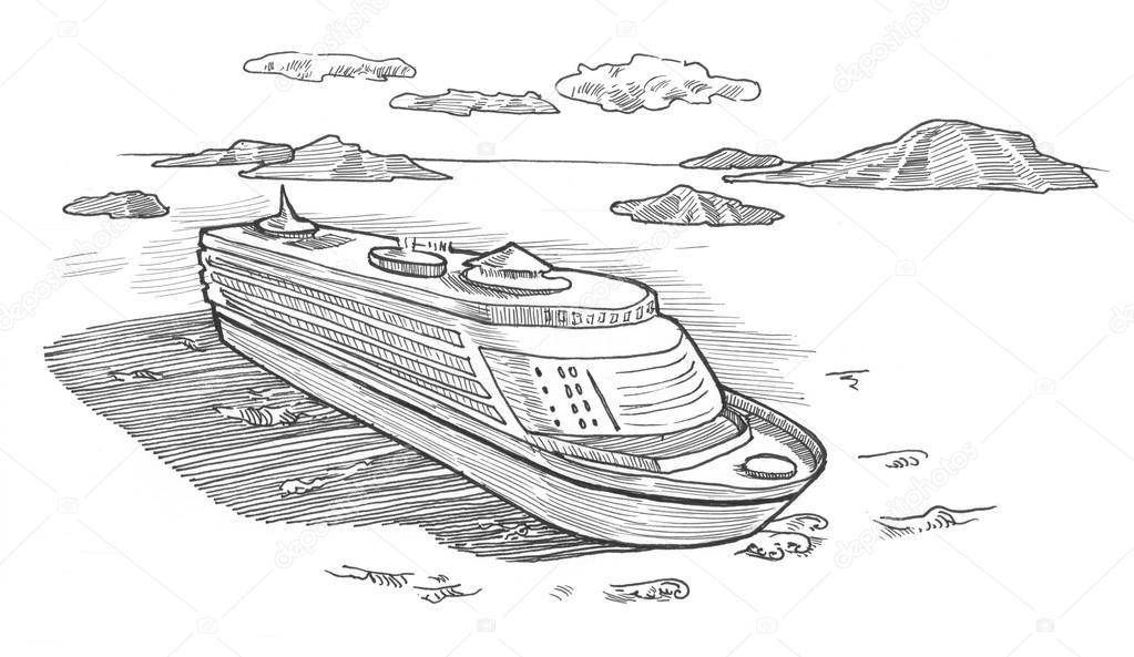Bateau De Croisière Ocean Illustration Photographie