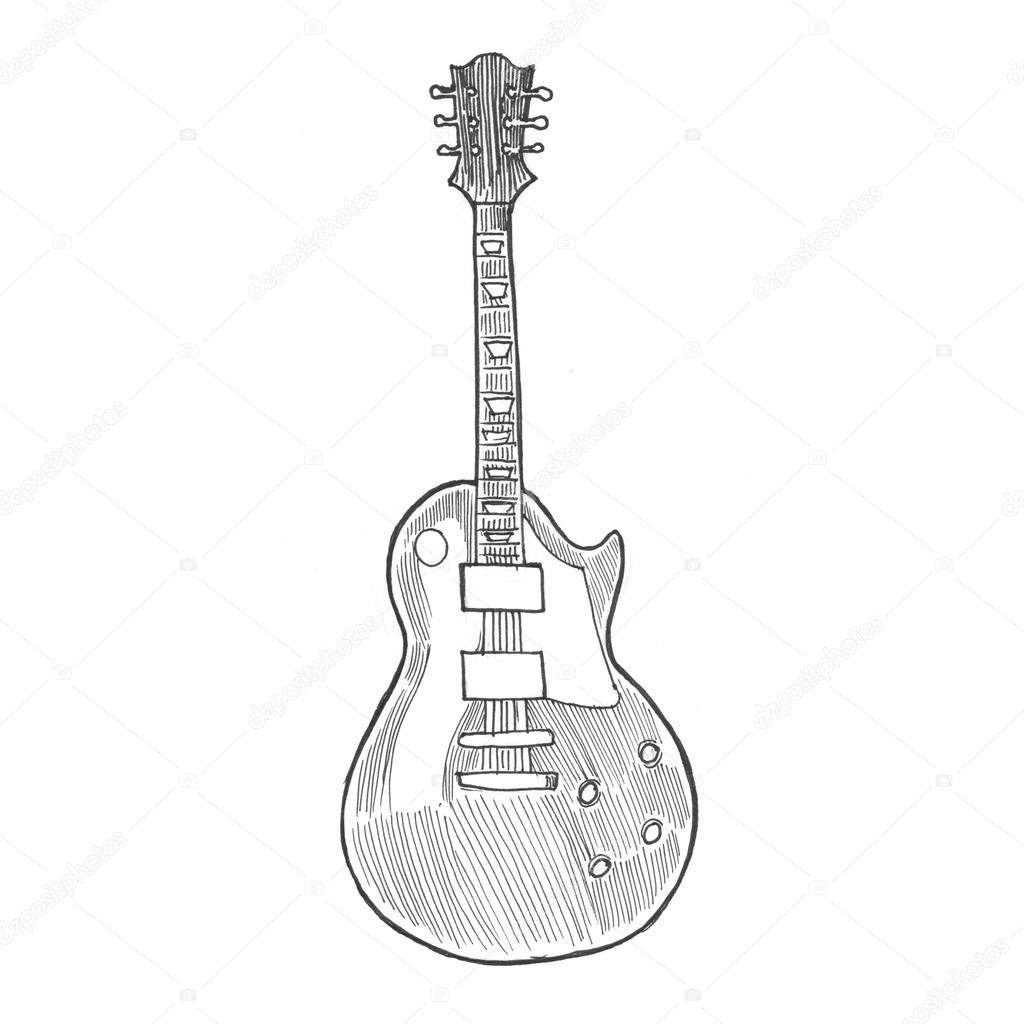 Engraving Style Hatching Pen Pencil Painting Illustration Electric Rock Guitar Image Engrave Hatch Lithography Drawing Collection Photo By Sentavio