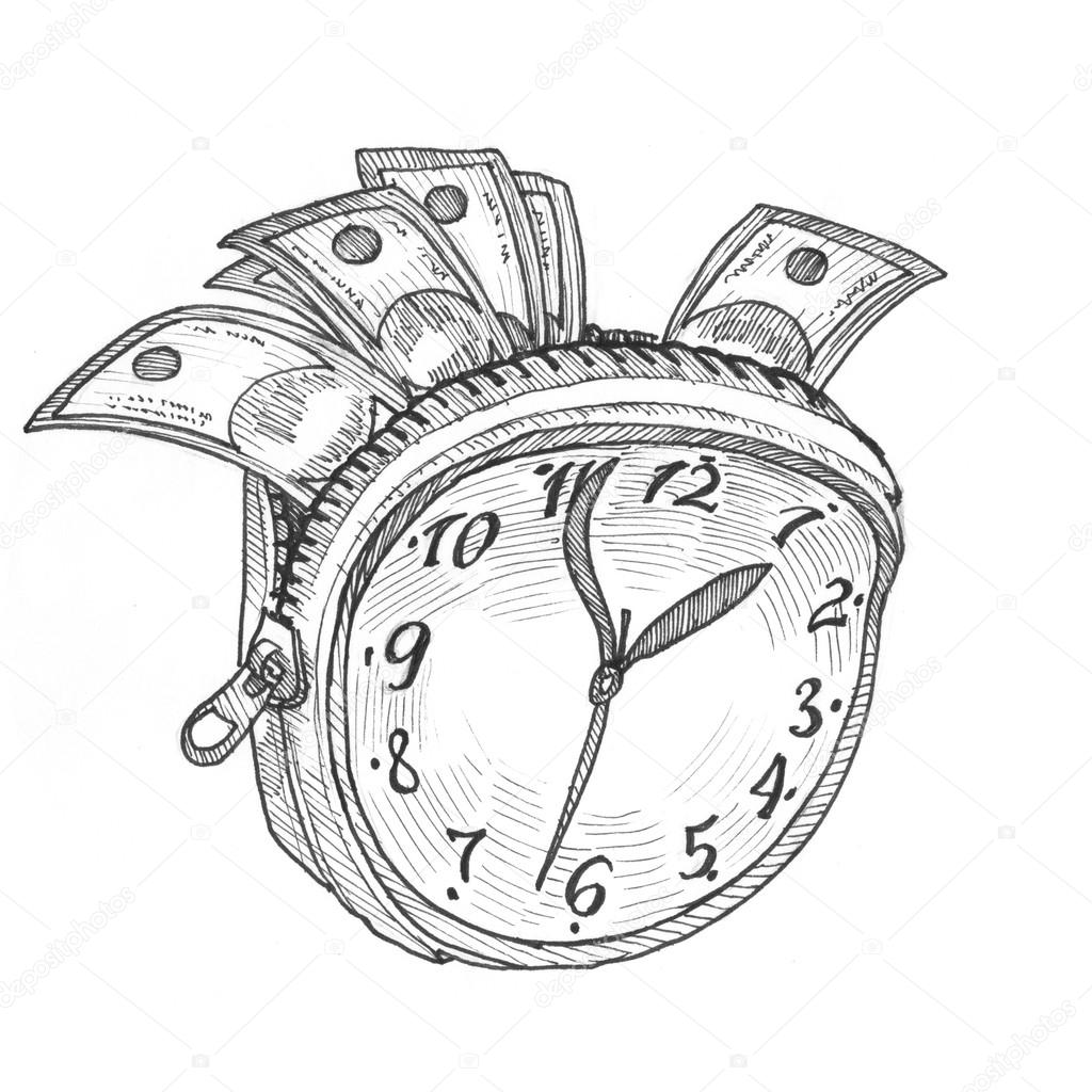 Engraving style hatching pen pencil painting illustration time is money wallet concept image clock with zip like wallet with money banknotes