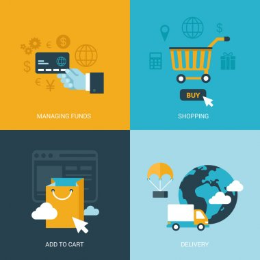process icons set of online sale