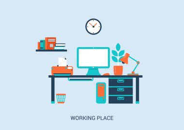 Flat style design of work place