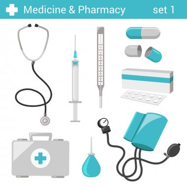 Flat style medical  equipment icons