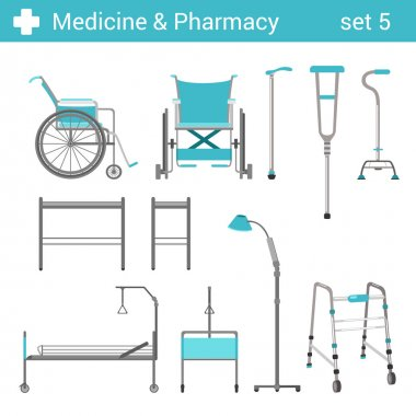 medical disabled equipment icon set.