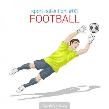 Football goalkeeper with ball