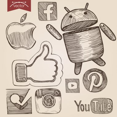 vintage set of social media icons
