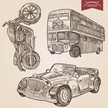vintage lineart transport set