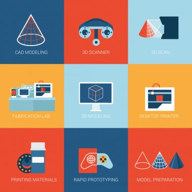 Flat icons of 3D technology modeling