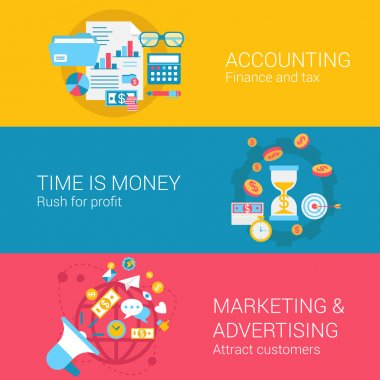 Accounting marketing advertisement concept icons