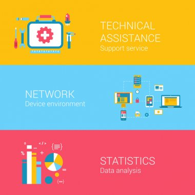 icons set of technical assistance network