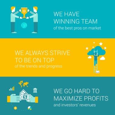 Company motto concept flat icons