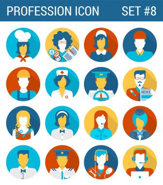 Professions flat icons set