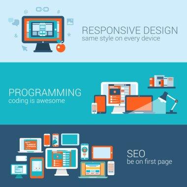 Web design programming SEO concept flat web banners templates set. Responsive style css coding php javascript cms promote search engine optimization vector illustration website infographics elements. clip art vector