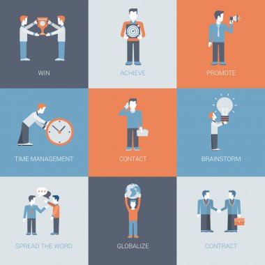 Business marketing flat icon set.