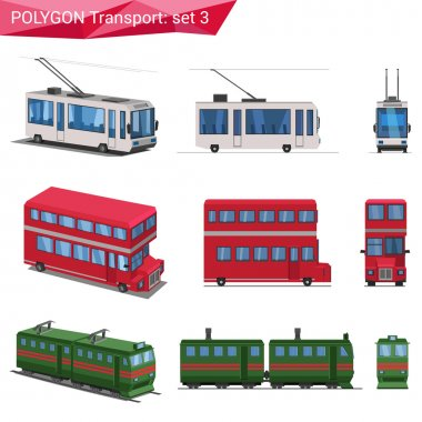 Polygonal style vehicles icons