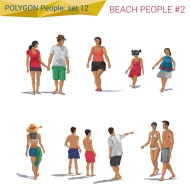 Polygonal style beach people