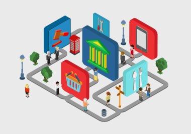 interactive city navigation icons