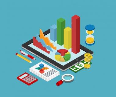 isometric business finance analytics