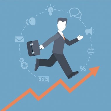 businessman running up the rising  graphic