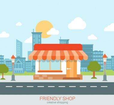 Flat style modern tiny  shop
