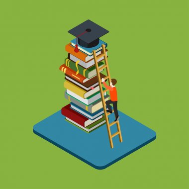 Man climbs on ladder over  books