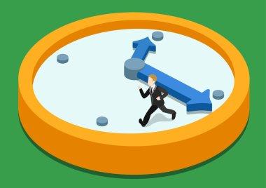 Businessman running away on clock