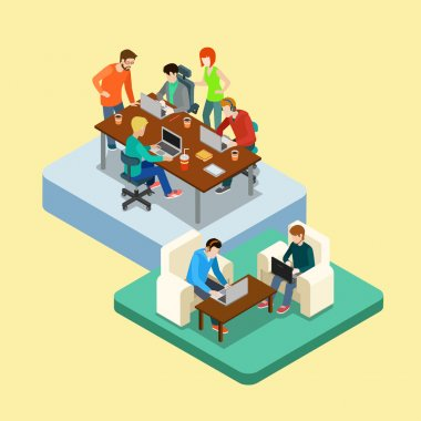 Coworking isometric infographic concept