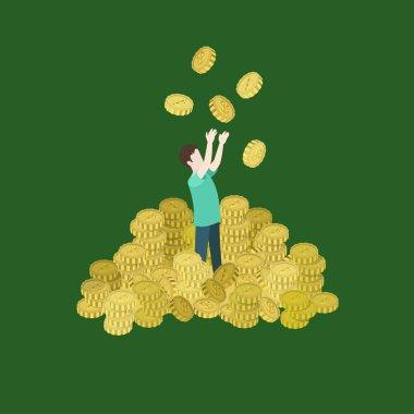 Man heap of coins toss up