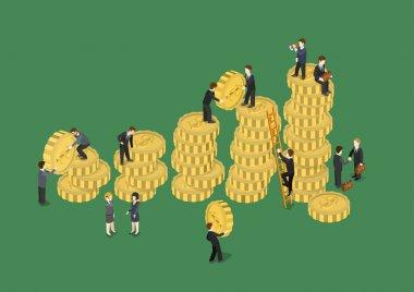 Businessmen adding coins