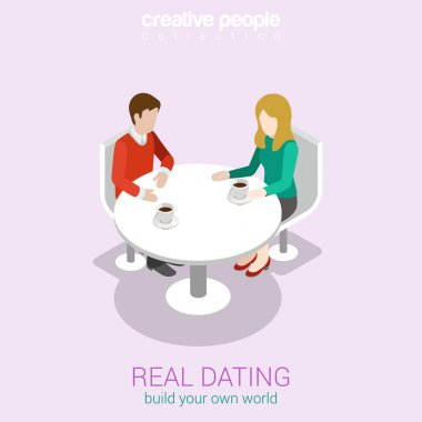 Real dating flat 3d web isometric infographic concept vector. Couple date in real life sitting talking restaurant cafe table. Build your own world creative people collection. clip art vector