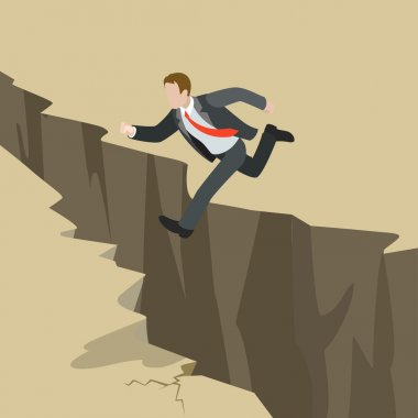 Businessman jump over earth ground