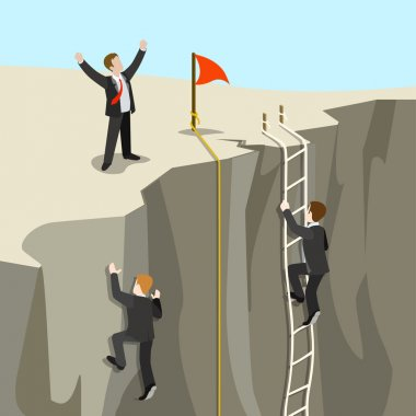 Businessmen competition climb from abyss