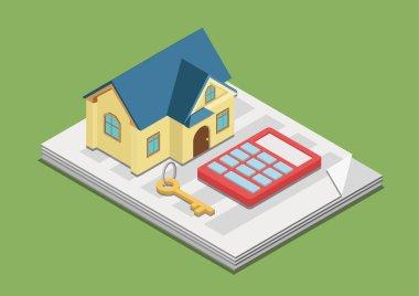House key ,calculator on paper advertisement
